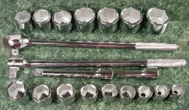"21pc 3/4 "" Drive Ratchet Socket Set Tool Sae With Case New Wrench Big Jumbo - $79.99"