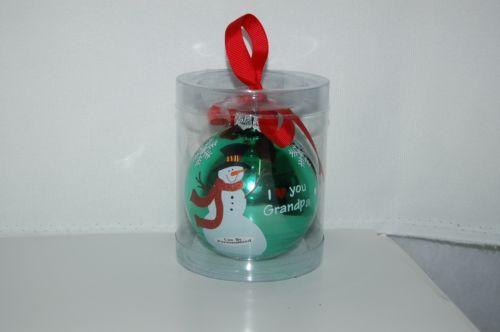 Ganz EX27946 I Love You Grandpa Snowman Christmas Ball Ornament Color Green