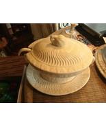 6# Vintage! 4Pc.Set of California Pottery Soup Tureen Milk Glass Panel G... - $81.17