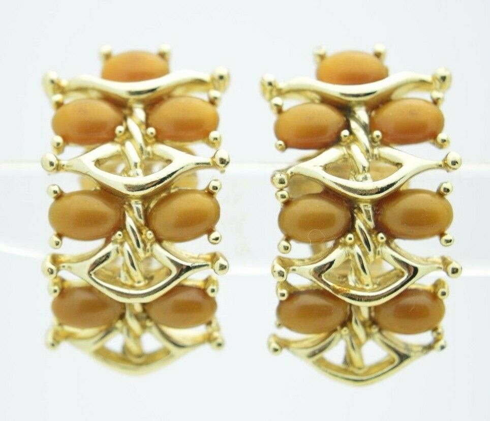 Vintage Gold Tone KRAMER Brown Thermoset Clip Earrings