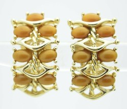 Vintage Gold Tone KRAMER Brown Thermoset Clip Earrings - $29.70