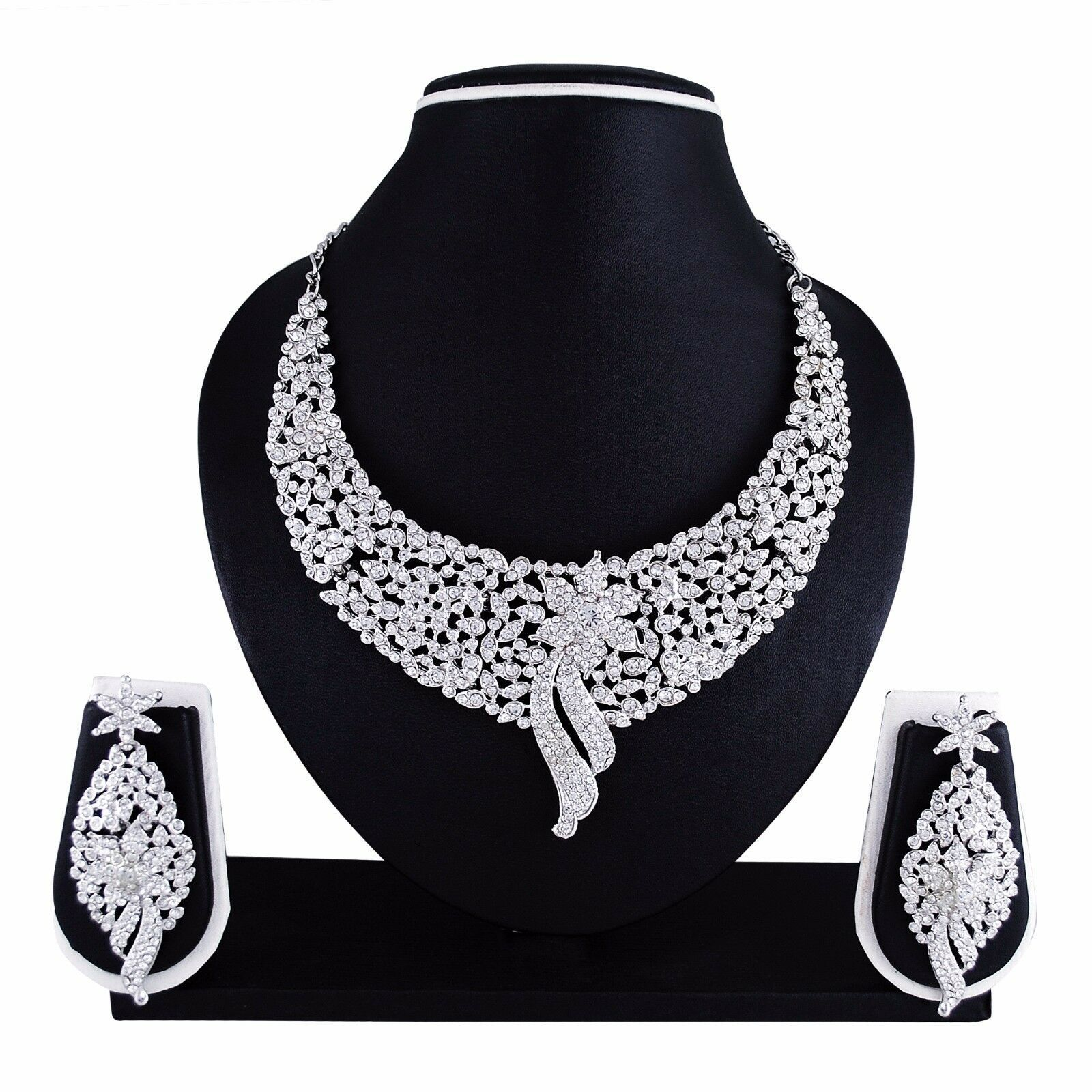 Indian Bollywood Style Fashion Wedding Silver Plated Necklace Party Jewelry Set