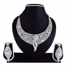 Indian Bollywood Style Fashion Wedding Silver Plated Necklace Party Jewe... - $19.79