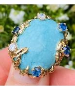 Vintage Heavy 1960s Retro 18k Gold Turquoise Sapphire Diamond Ring - $2,569.05