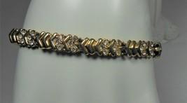 Vintage Gold Tone Swarovski Crystal Link Bracelet - $11.87