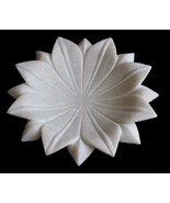 BEAUTIFUL HAND CURVED MARBLE DECORATIVE FLORAL DESIGN UNIQUE GIFTED PLAT... - $61.24