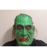 Rubber Frankenstein Face Mask Green Halloween Monster Green Dark Eyes Re... - $11.64