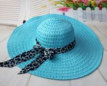 sun hat with leopard ribbon wide brim floppy foldable cap summer beach sunhat mx8 thumb155 crop