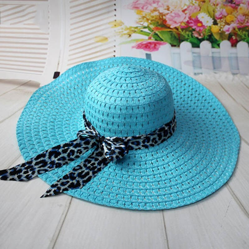 Women Straw Sun Hat With Leopard Ribbon Wide Brim Floppy Foldable Cap Summer Bea