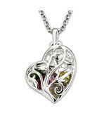Personalized Heart Cage Family Tree Necklace Birthstones Gold Color Uniq... - $91.98
