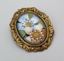 "Beautiful Vintage Brass Frame & Floral Flower Pin Brooch 1 3/8"" Costume ... - $12.86"