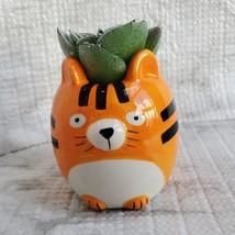 Tiger Animal Planter with Faux Succulent, Orange Cat Ceramic Plant Pot image 2