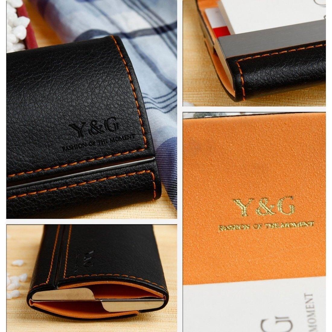 YDB01A03 Orange Black Business Card Holder For Men Inspirational Gift For Men