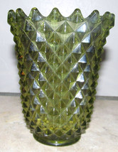 Vintage 1950's Imperial Green Glass American Diamond Point, Decor Vase - $45.99
