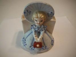 "Vintage 5"" Ceramic Porcelain Lady In Blue Dress Flower Pot A Fine Qualit... - $13.98"
