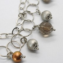 925 STERLING SILVER DOUBLE BRACELET WITH SMOKY QUARTZ WORKED SPHERES AND PEARLS image 2