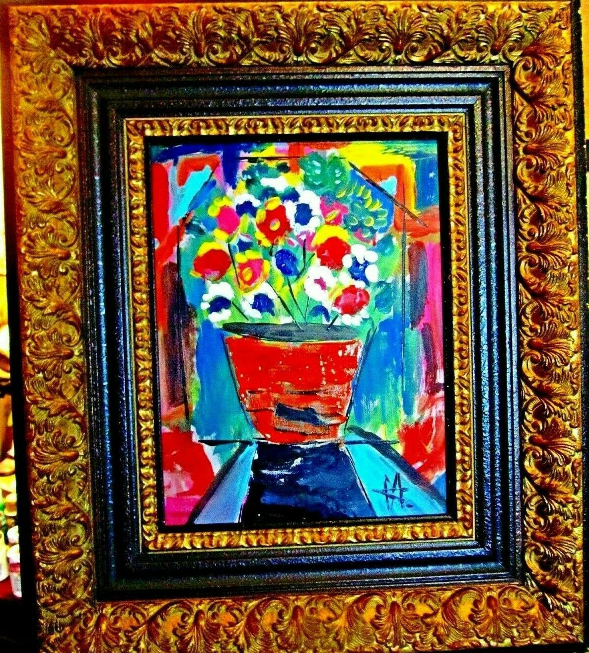 Primary image for  ORIGINAL CUBAN ART FLOWERS  WOOD FRAME