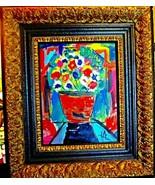 ORIGINAL CUBAN ART FLOWERS  WOOD FRAME - $78.21