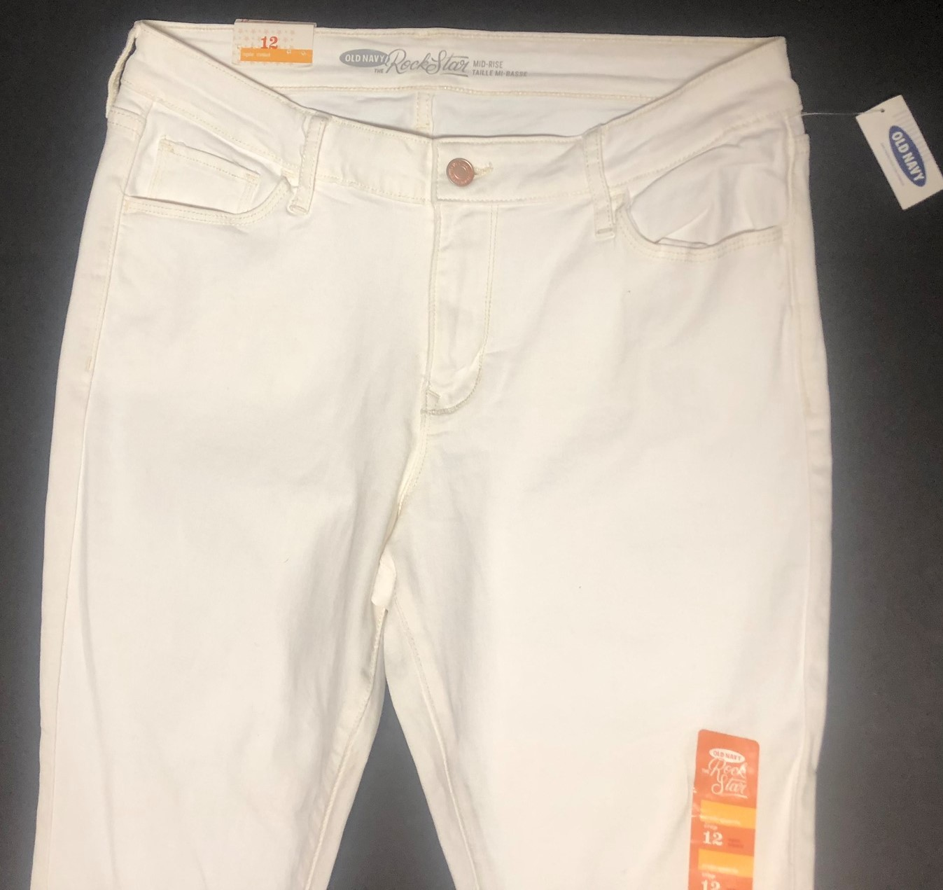Old Navy Rock Star White Crop Jeans Sz 12 image 3