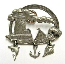 VINTAGE LCD PEWTER LIGHTHOUSE SAILBOAT SEA DANGLE BROOCH PIN W/3 CHARMS ... - $9.49