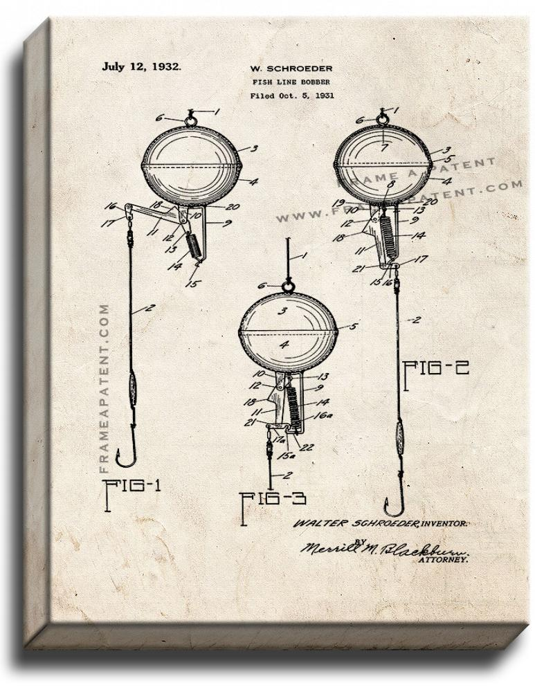 Primary image for Fish Line Bobber Patent Print Old Look on Canvas