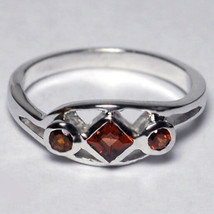 Natural Garnet 3 Stone Band Ring Womens January Birthstone 925 Silver Be... - $59.00