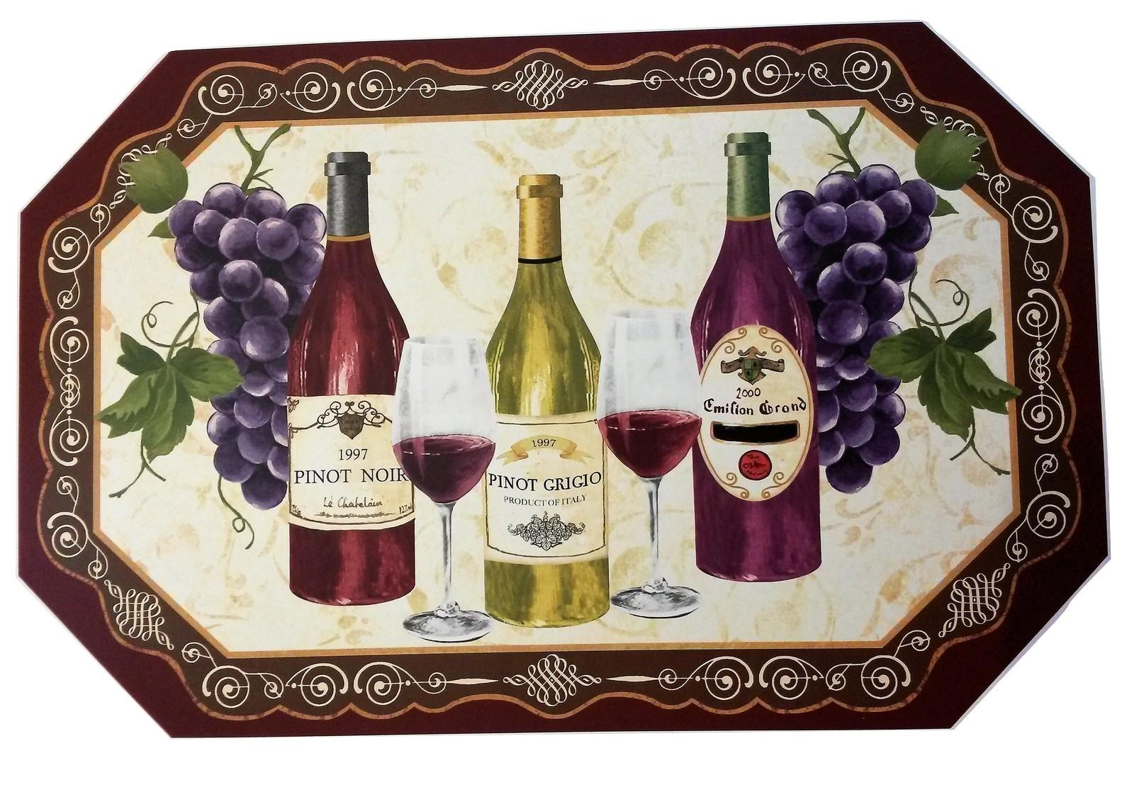 WINE PLACEMATS Set of 4 Vinyl Bar Place Mat Grapes Bottles Pinot Noir Grigio