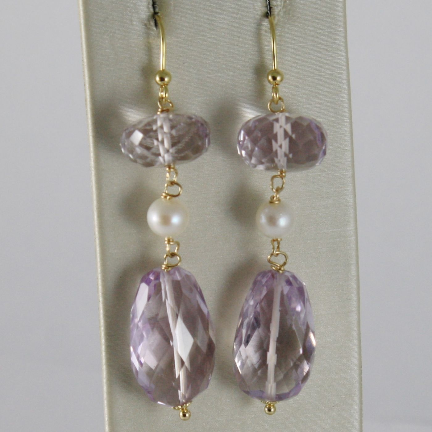 SOLID 18K YELLOW GOLD PENDANT EARRINGS WITH CUSHION PURPLE AMETHYST AND PEARLS