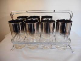 Mid Century Modern MCM Dorothy Thorpe Style Silver Set Of 7 glasses w/ C... - $64.34