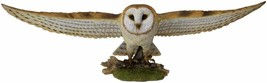 Large Realistic Common Barn Owl Swooping Over Tree Stump Glass Eyes Stat... - $199.99