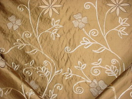 MANUEL CANOVAS EMBROIDERED SCROLL FLORAL DRAPERY UPHOLSTERY FABRIC - $37.62