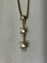 "Monet Gold Tone Necklace Pendant Three Graduated size CZ Stones 16-18"" J... - $12.55"