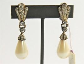 ESTATE VINTAGE Jewelry NOS DESIGNER FX PEARL PAVE RHINESTONE DANGLE EARR... - $25.00