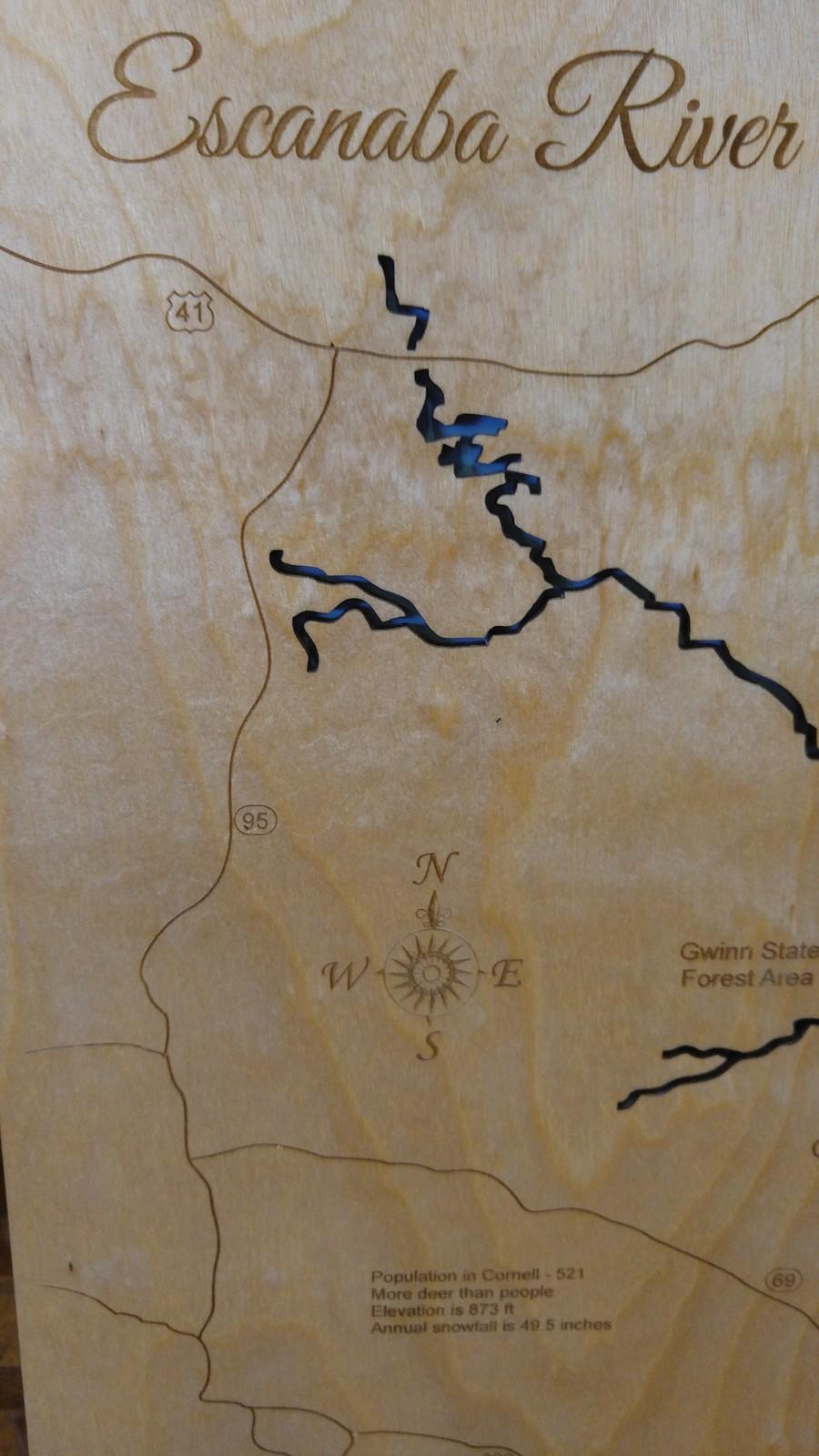 Escanaba River, Michigan - Wood Laser Cut Map - Wall Hanging