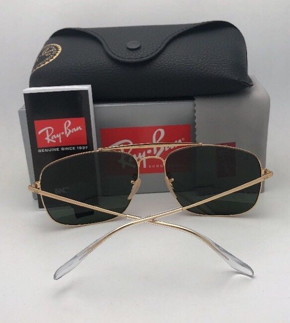Primary image for New RAY-BAN Sunglasses THE COLONEL RB 3560 001/3F 61-17 Gold Aviator w/Blue Fade