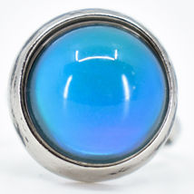 Classic Simple Silver Tone Round Cabochon Color Changing Adjustable Mood Ring image 6