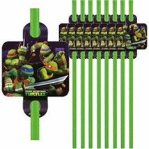 Teenage Mutant Ninja Turtles 16 Straws Green Favors Party TMNT - €1,76 EUR