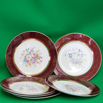 "1930s Set Of 6 Salem China Century Shape, Aristocrat Maroon 10"" Dinner P... - $16.95"