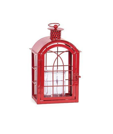 Red Metal Votive Candle Lantern w/Glass Candle Cup - Boho-Chic Candle Lantern