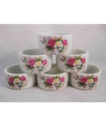 Flowered Porcelain Napkin Rings Roses (6) Crown West Porcelain Co. - $9.00