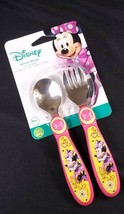 Disney Minnie Mouse spoon & fork flatware set easy grip handles NEW TOMY - $4.95