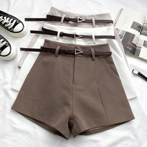 New brown classic women shorts with pockets and brown belt elegant sprin... - $29.00