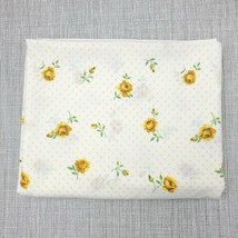 Vintage Cannon Monticello Muslin Full Flat Sheet Yellow Rose and Polka D... - $18.81