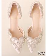Women Ivory White Swarovski Wedding Sandal Shoe,Bridal Low Heel Shoes US... - £71.68 GBP