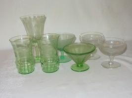 Lot of Depression Glass Etched Floral Vtg Drinking Goblet Federal Green ... - $29.69