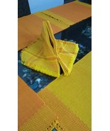Table Napkin And Placemats 100% Cotton Reversible 12 Pc Set Yellow & Ora... - $55.02