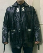 Men's New Native American Black Long Fringes Cow Leather Hippie Jacket F... - $177.21+