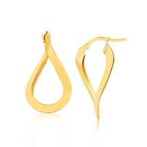 14k Yellow Gold Flat Polished Twisted Hoop Earrings - $146.30