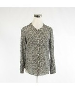 Black white floral print 100% cotton HOLDING HORSES long sleeve blouse 6P - $24.99