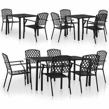 vidaXL Outdoor Bistro Set Mesh Metal Stacking Garden Furniture 3/5/7/9 P... - $231.99+